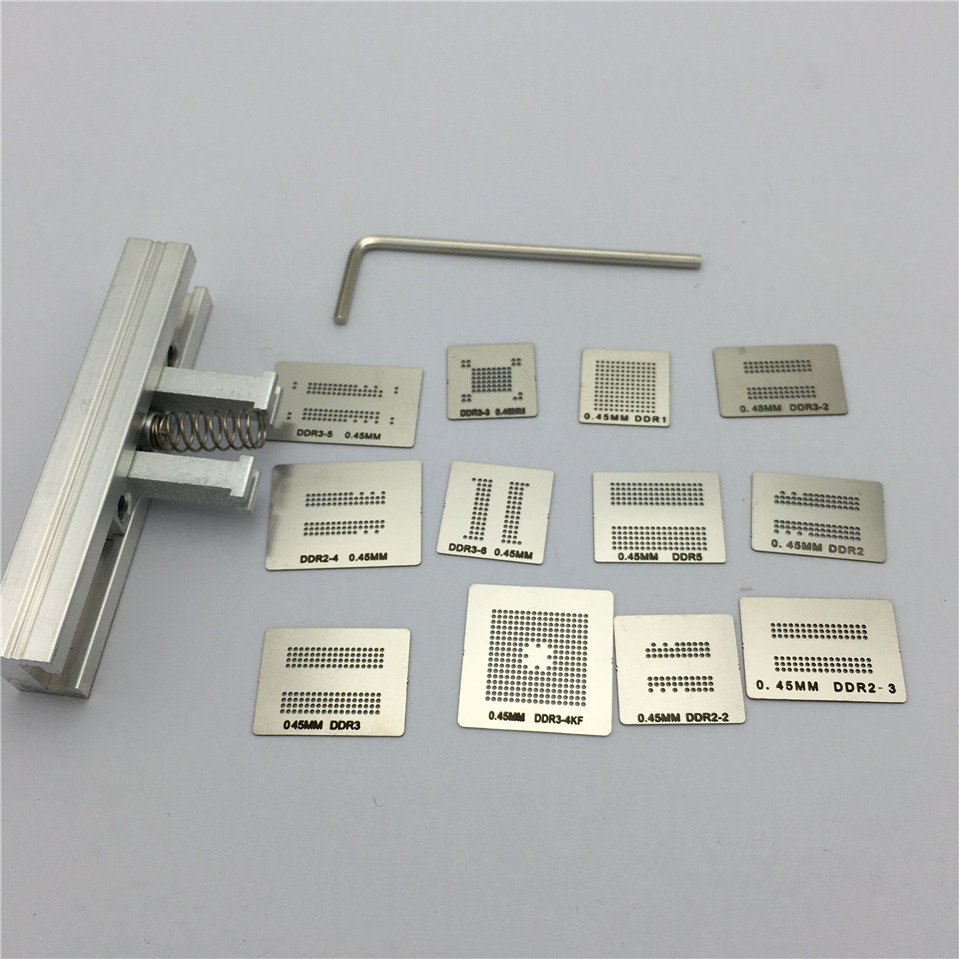 12pcs Memory Directly Heat BGA Reballing Stencils Template Holder Jig For DDR1 DDR2 DDR3 DDR5 C0009 Welding Rework Repair