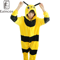 Hot Sale Adults Unisex Flannel Pajamas Onesies Bee Cosplay Costume Homewear All In One Junpsuits