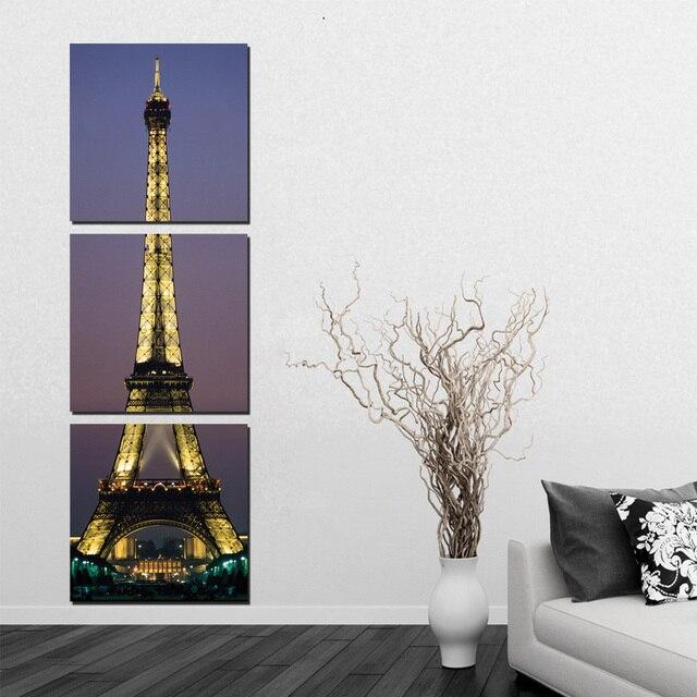 2016 Cuadros 3 Панель Париж Эйфелева Башня Живопись Декор Картина набор Ночь Отпечатки На Холсте Для Гостиной Настенные Углу Нет кадр