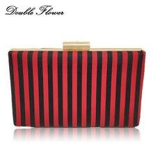 f408699a2bd5 Двойной цветок черный и красный смелый полосатый Женская Мода Ежедневные  клатчи Сумки дамы цепи сумка женская свадебная сумочка-.