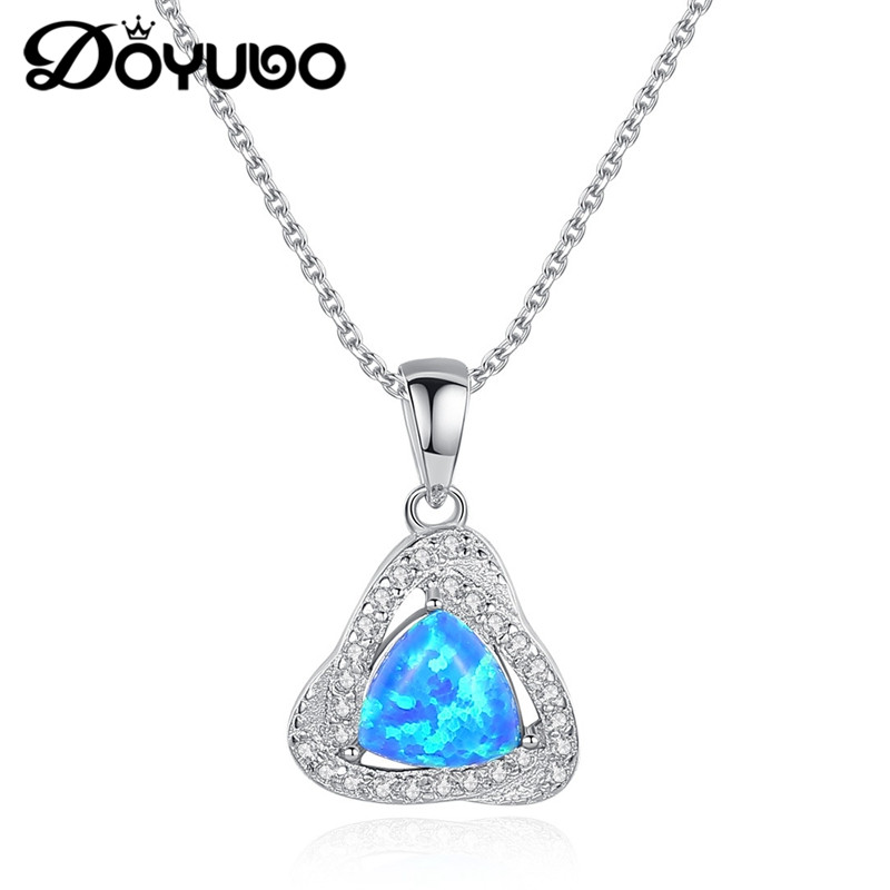 0da580c93 Cheap DOYUBO clásico mujer Real plata triángulo ópalo dijes collares 925 plata  esterlina CZ colgante collares