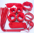 PU leather Sex Bondage Kit Set 7 Pcs Sexy Product Set Adult Game Set Hand Cuffs Footcuff Whip Rope Blindfold Couples Erotic Toys