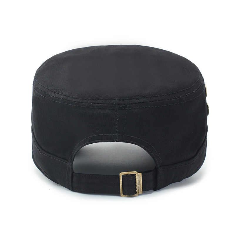 gorras para hombre шапка La PAC de 2018 hombres gorra militar de Primavera de otoño de los hombres sombreros militares planos de los hombres de algodón superior ejército militar sombrero negro Tapa hombre sombrero