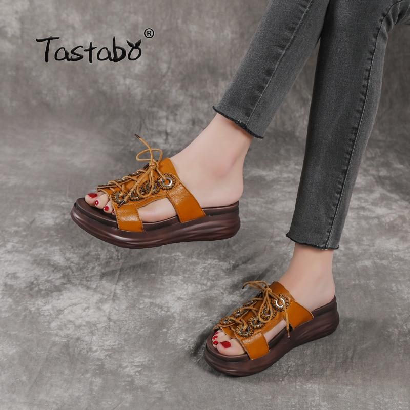 Tastabo 2019 summer ladies slippers Beach shoes Vintage craftsmanship Leisure style High heeled flat bottom women