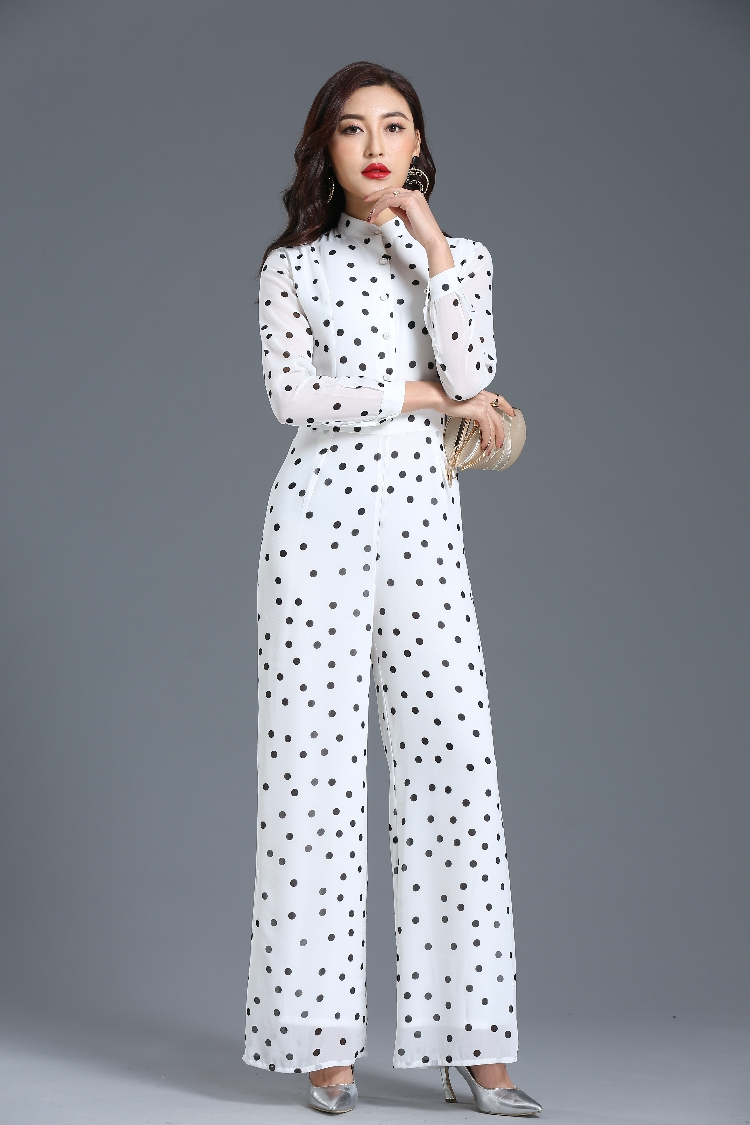 Jumpsuit for Women 2019 Summer Party Overalls Long Sleeve Dot Chiffon Bohemian Elegant Full Length Wide Leg Suit Plus Size 3XL