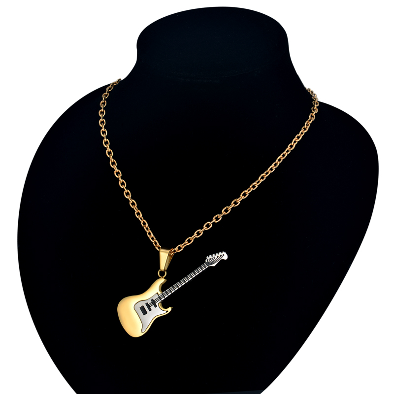 Guitar Necklace & Pendant Stainless Steel Music Jewelry