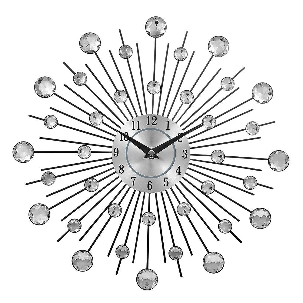 בציר מתכת קריסטל Sunburst קיר שעון יוקרה יהלומים גדול מורדן קיר שעון דה Parete שעון עיצוב בית תפאורה Wandklok