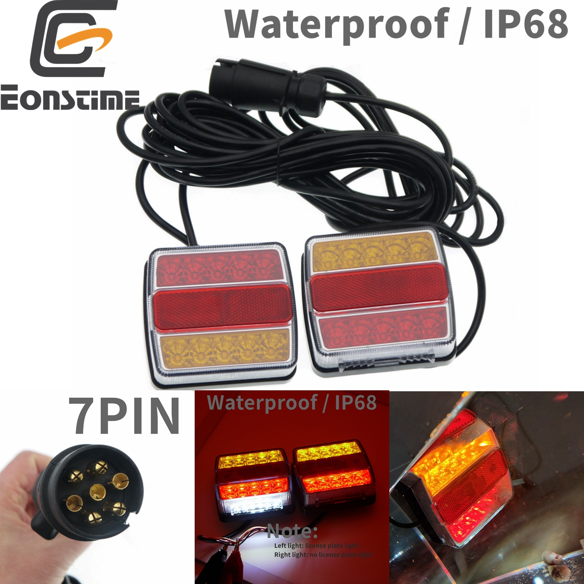Eonstime 1 Set 12V 10m 10 LED Trailer Light Kit Tail Light Trailer Lights License Plate Light Lamp High Quality Waterproof IP68