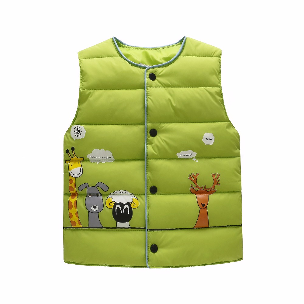 Spring Autumn Boys Girls Vest Jacket Cotton Cartoon Vest Kids Outwear sleeveless jacket children Down Parkas Waistcoats baby