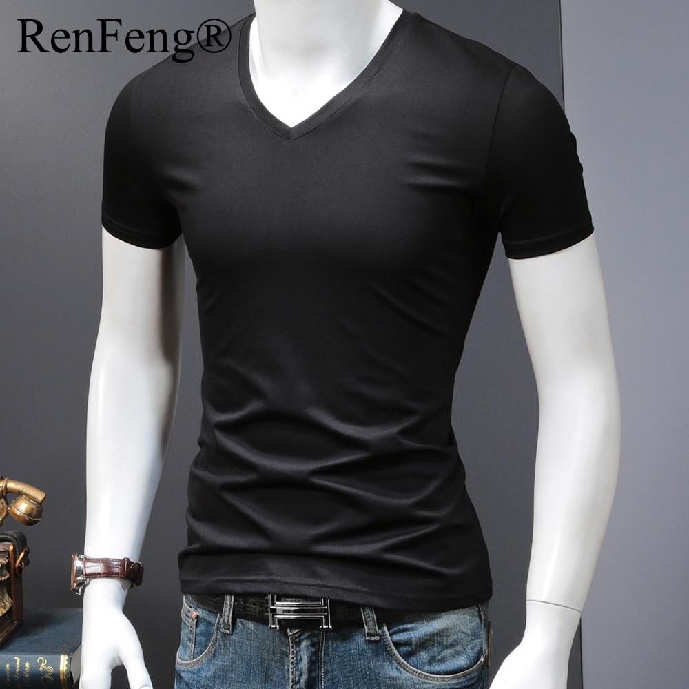 Man's Plain Ice Silk Seamless Underwear Seamless V-neck blank t shirt Men Clothes Comfortable Mens White Undershirts (16)