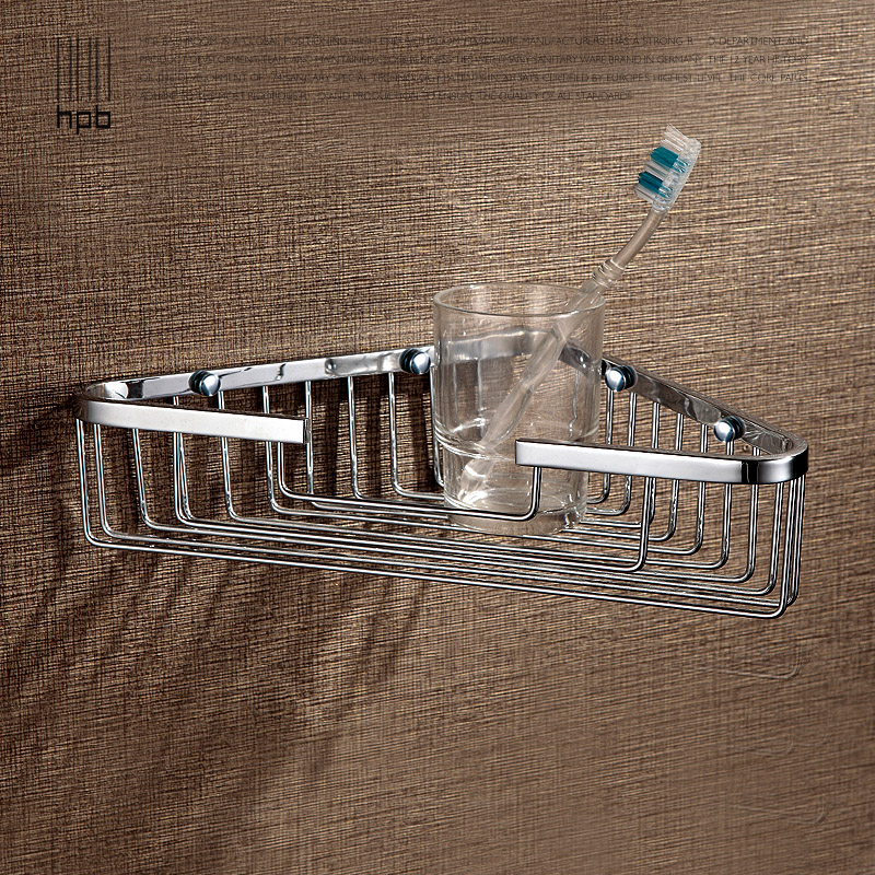 Han sent all copper bathroom hardware pendant tripod monolayer kitchen bathroom shelf HP7726 copper bathroom shelf basket soap dish copper storage holder silver