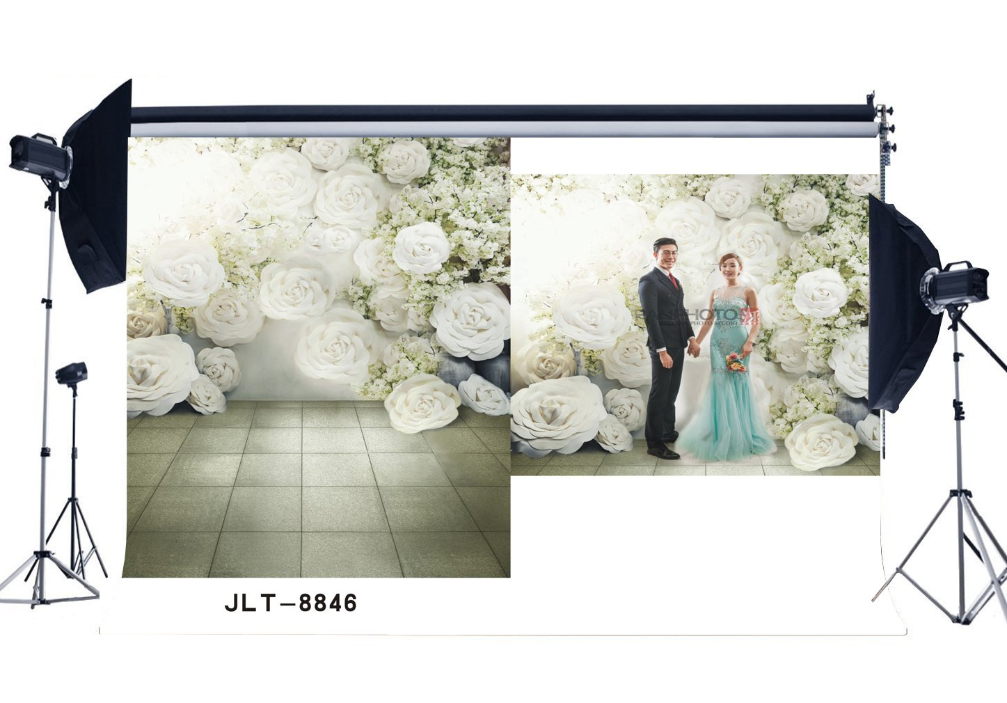 Photography Backdrops Fancy Blooming Flowers & Flower Vine Marble Floor Seamless Newborn Baby Background-in Background from Consumer Electronics