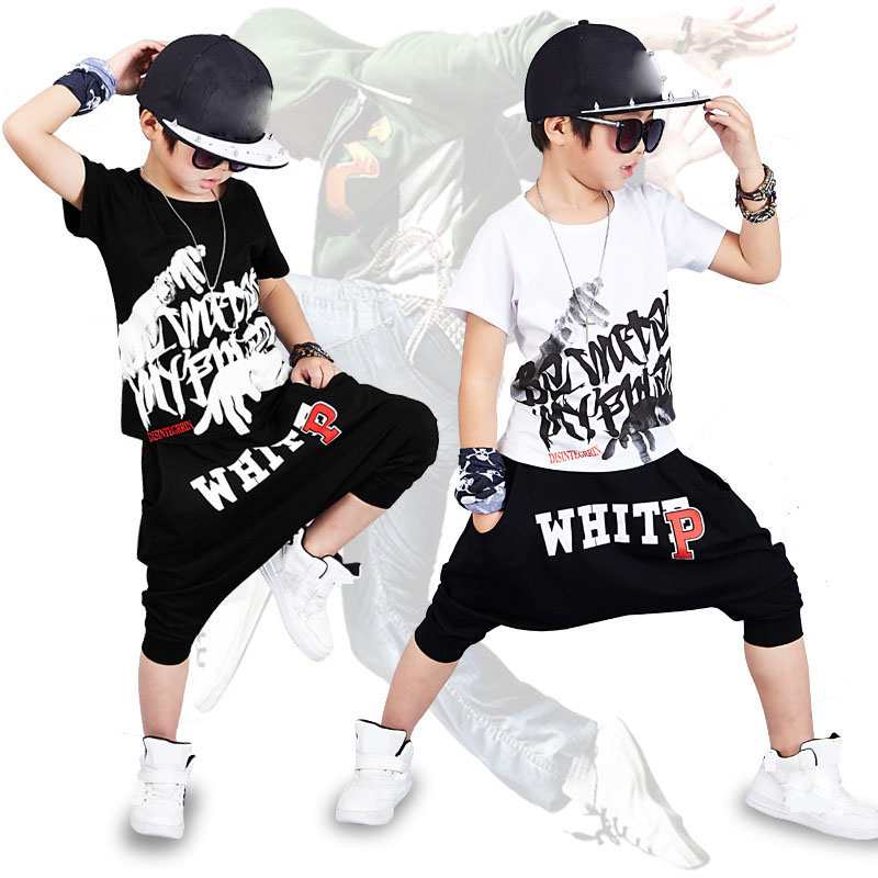 2017 new fashion print Baby boys t-shirt hip hop dance harem pants boy 4 6 8 10 12 14 year sport clothes suits Kids clothing set