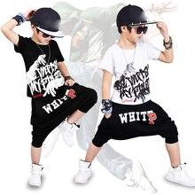 48014bba6 2018 nueva moda imprimir Baby boys t-shirt hip hop danza pantalones harem  boy 4 6 8 10 12 14 año ropa Deportiva trajes niños rop.