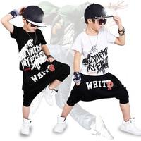 2017 nueva moda de impresión de los Bebés de la camiseta de hip hop danza pantalones harem niño 4 6 8 10 12 14 año del deporte arropa juegos de Los Cabritos que arropan el sistema