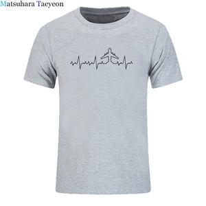 Футболка с принтом «Heartbeat Plane», забавная Мужская футболка с коротким рукавом, хлопковые футболки для водителя, мужская одежда
