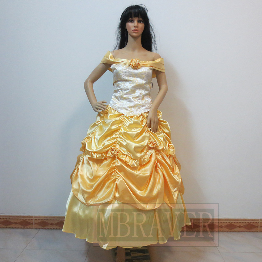 Hot Sale Custom Made Beauty And The Beast Belle Cosplay Costume Dress for Party