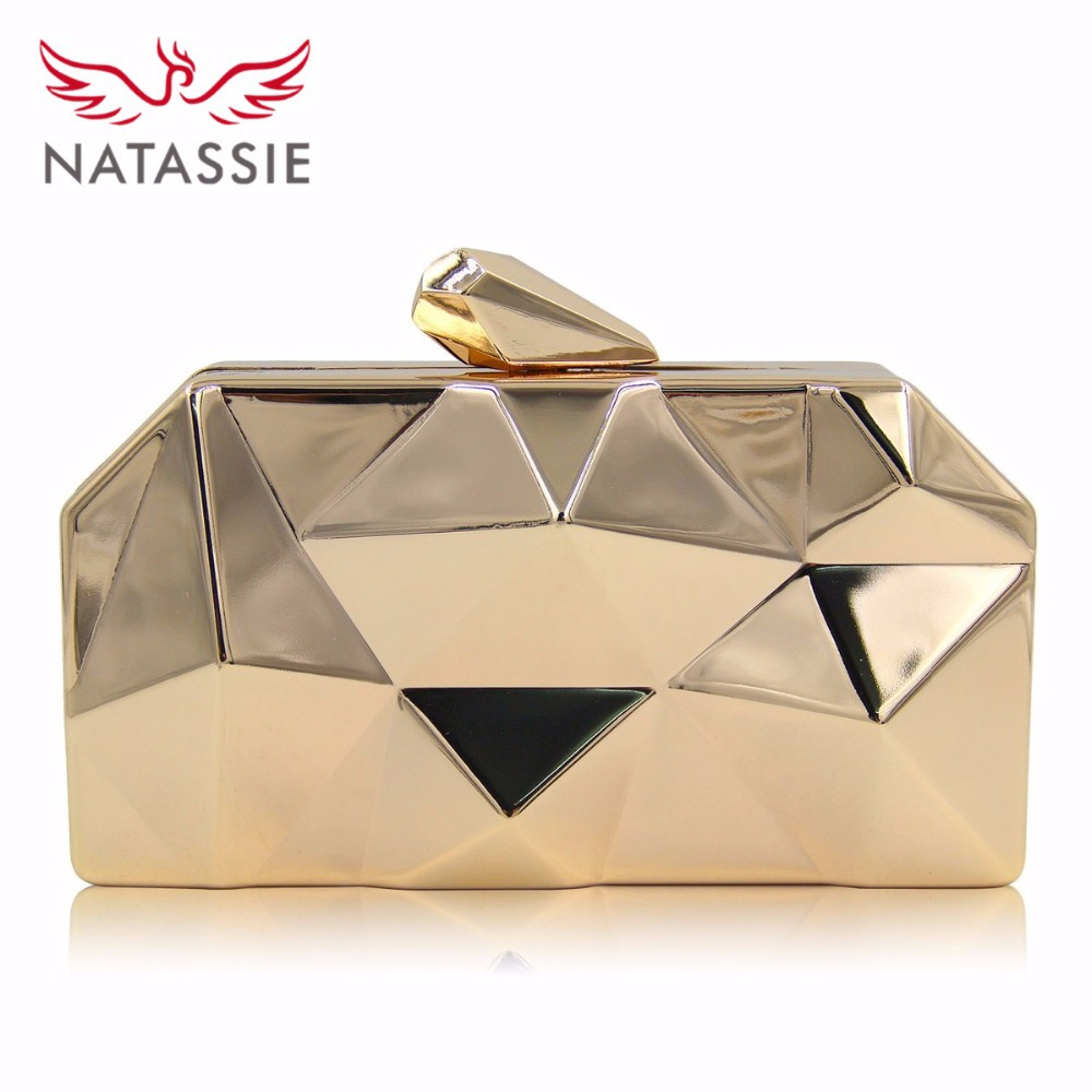 NATASSIE Women Clutch Purses Ladies Gold Bag Female Metallic Evening Clutches Bags yuanyu 2018 new hot free shipping real python leather women clutch women hand caught bag women bag long snake women day clutches