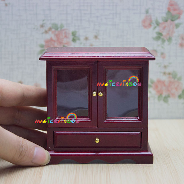 Attractive Dolls House Furniture Wood TV Cabinet Cupboard Chest Table Drawer Dollhouse  Miniatures 1:12