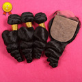 Silk Base Closure With Bundles Unprocessed Brazilian Virgin Hair With Closure Loose Wave 4Pcs/Lot Human Hair With Silk Closure