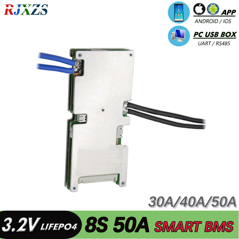 smart bms bluetooth 8S 30A 40A 50A 24V Lifepo4 smart bms pcm with android Bluetooth app