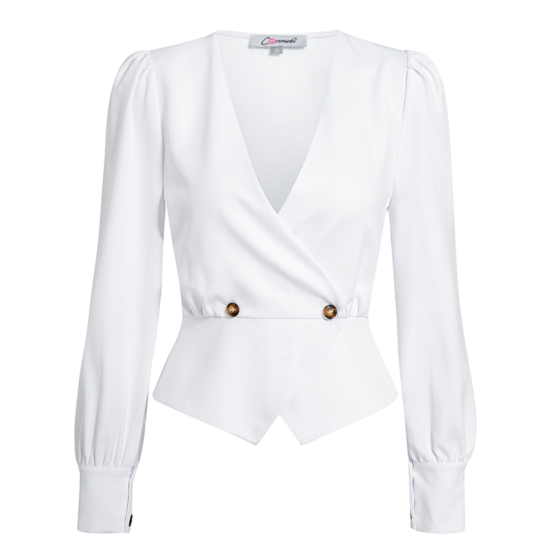 HTB1byp9arr1gK0jSZR0q6zP8XXa3 - Conmoto Elegant Solid Women Blouse Shirts Vintage Retro Peplum White V Neck Female Blouses Puff Casual Blusa Mujer