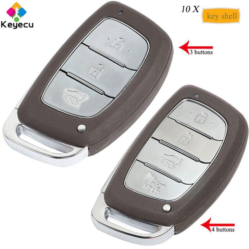 KEYECU 10 PCS/Lot coque de clé de voiture intelligente à distance avec 3/4 boutons et lame non coupée-FOB pour HYUNDAI IX25 IX35 Elantra Sonata Verna