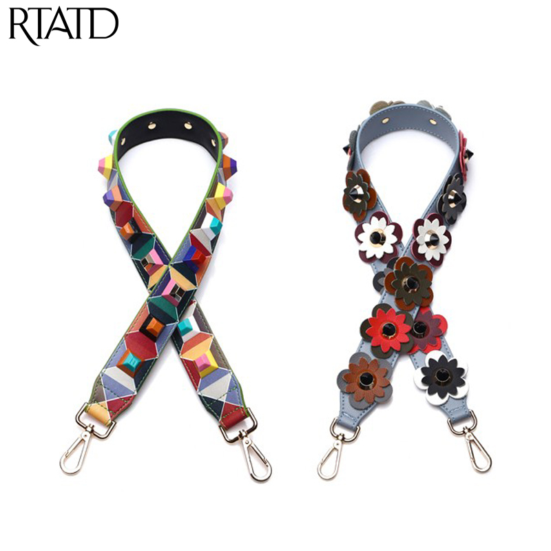New Split Leather Fashion Handbag Strap Flower Stud Design Lady Shoulder Strap 90cm Handle For Women Bags Belts Q0133