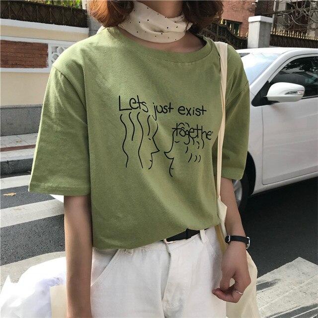 34bc2fd7f8d Presupuesto Ropa de verano Camisetas mujer Tops 2019 estilo coreano ...