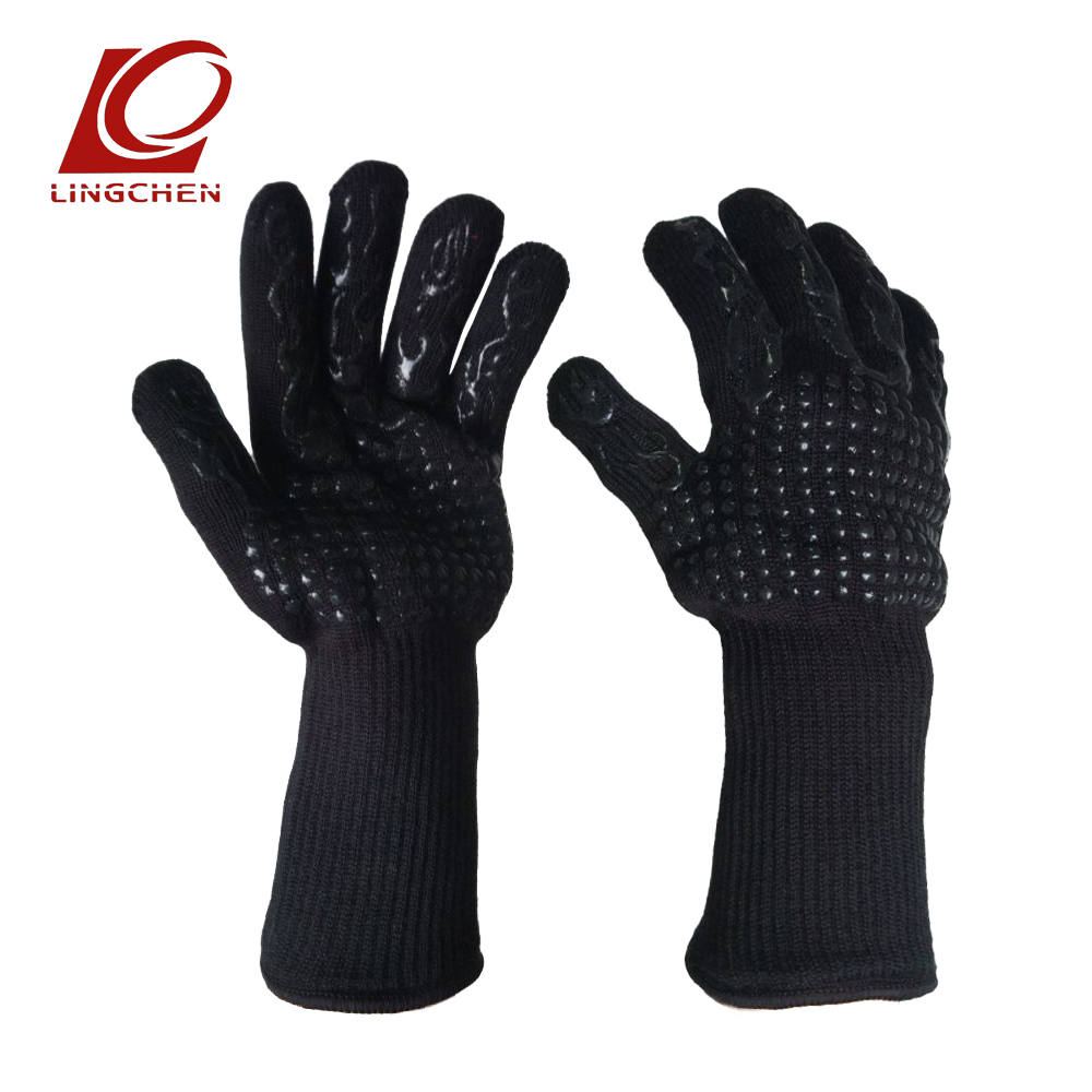 one pair For Microwave Oven Fireplace Barbecue Aramid 1414 Red&black Silicone flame fire proof Heat Resistant Gloves 1 pair new black flame l