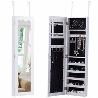 Goplus Mirrored Jewelry Armoire Cabinet Door Mounted Necklace Organizer Modern White Make Up Mirrors Jewelry Storage