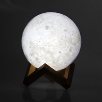 8 20cm Rechargeable 3D Print Moon Lamp 2 Color Change Touch Switch Night Light Table Moonlight