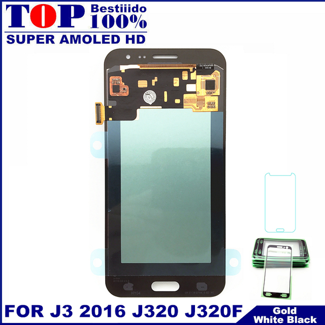 100% سوبر AMOLED شاشات lcd لسامسونج غالاكسي J3 2016 J320 J320F J320H J320M J320FN شاشات Lcd عرض مع مجموعة المحولات الرقمية لشاشة تعمل بلمس