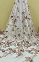 2019 Best Selling African Lace Fabric 3D Applique French Fabric High Quality with beads France Tulle Lace Fabric