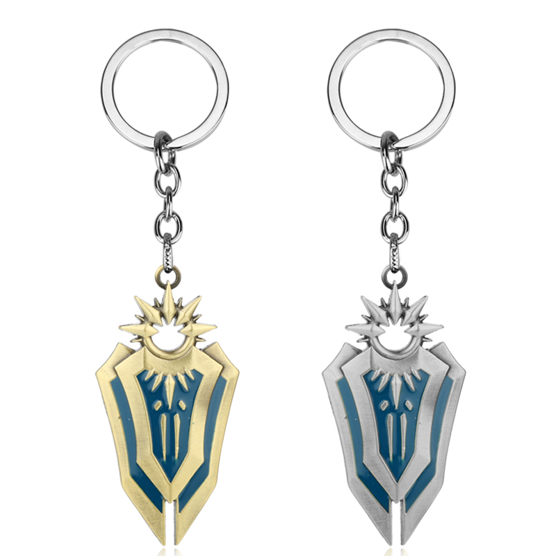 MQCHUN Hot Game Lo L Leona Legend Shield Alloy Bisoprolol Key Chain Thresh Weapon League keychain Men Car Keyring Cosplay Gift