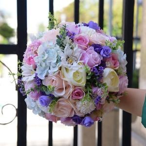 Image 2 - JaneVini Romantic Purple Wedding Flowers Bridal Bouquets Silk Artificial Flower Rose Bridal Brooch Accessories Buque De Noiva