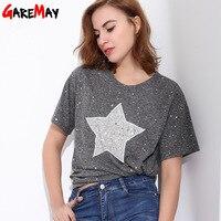 GAREMAY Women T Shirt With Sequins Stars Feminina Causal Tshirt For Women Tee Shirt Femme O