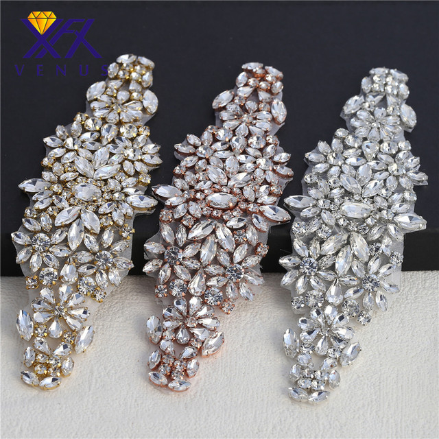 XINFANGXIU (10 pieces )Bridal belt applique with hot fix clear rhinestone  rose gold claws rhinestone applique pretty 6f617fdedb1b