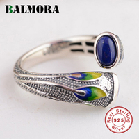 Vintage 100 Pure 925 Sterling Silver Jewelry Ethnic Lapis Lazuli Jasper Rings For Women Party Gift