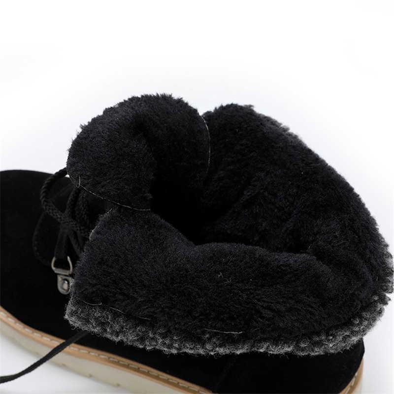 JIANBUDAN/зимние женские ботинки с пряжкой на ремешке; теплые замшевые ботильоны высокого качества с плюшевой подкладкой; зимняя хлопковая Обувь На Шнуровке; размеры 34-43