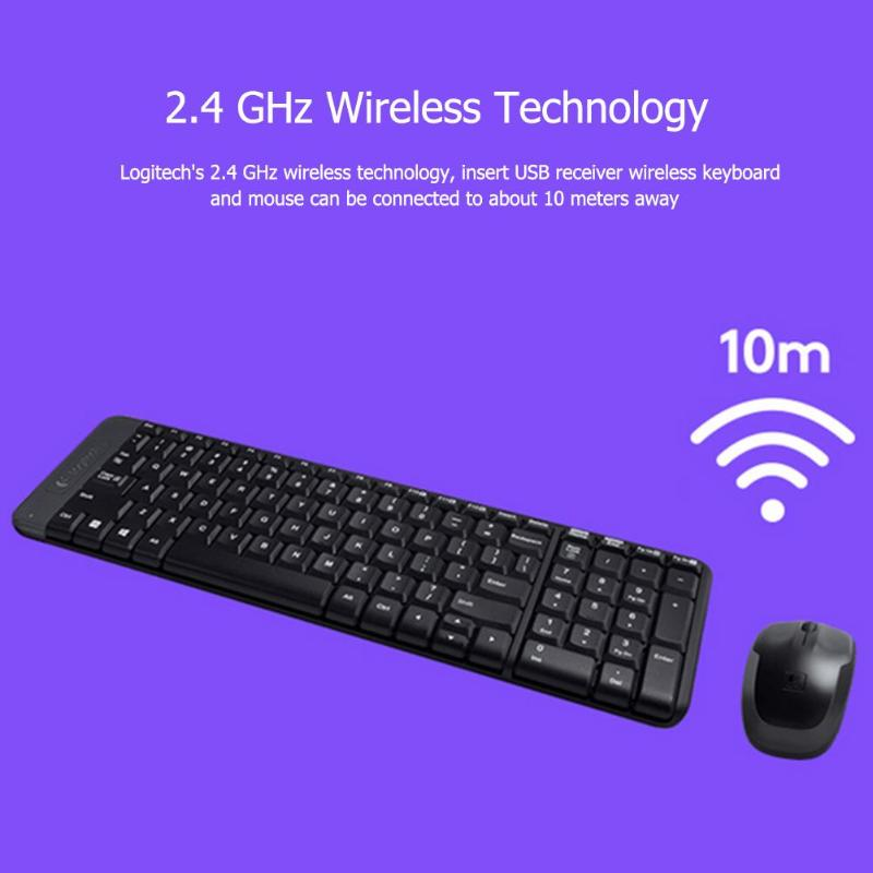 Logitech MK220 104 Keys Wireless Keyboard 1000dpi Mouse USB Receiver Set  Free to Roam Much Smaller Design 2 4 GHz wireless