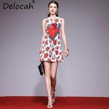 Delocah Elegant Women Spring Summer Dress Fashion Designer Sleeveless Appliques Sequined Beading Floral Print Casual Short
