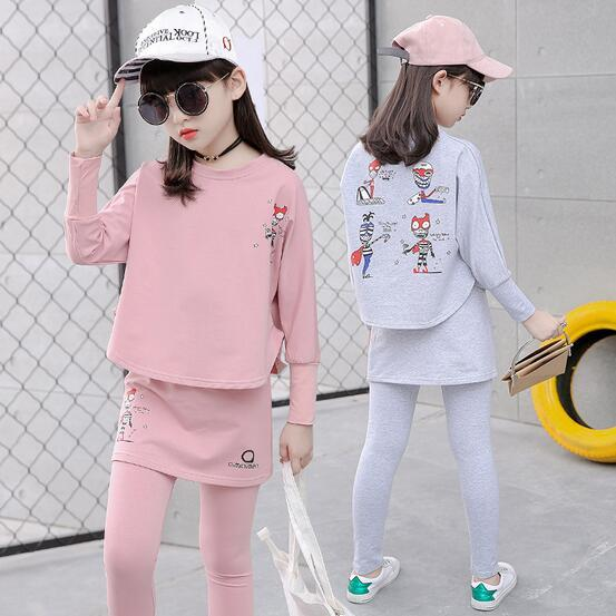 2017 Baby Clothing Set Autumn Baby Girls Clothes Long Sleeve T-Shirt+Pants 2Pcs Suits Cartoon Children Spring Solid 6-15T O-Neck