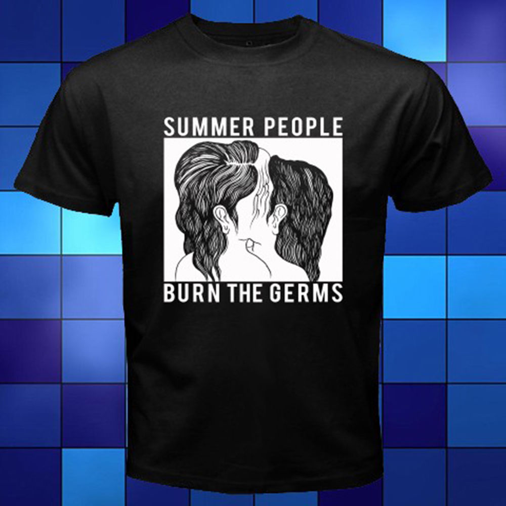Fashion 2018 Summer New Summer People Burn The Germs Rock Band Black T-Shirt Size S to 3XL 100% Cotton Top Tees