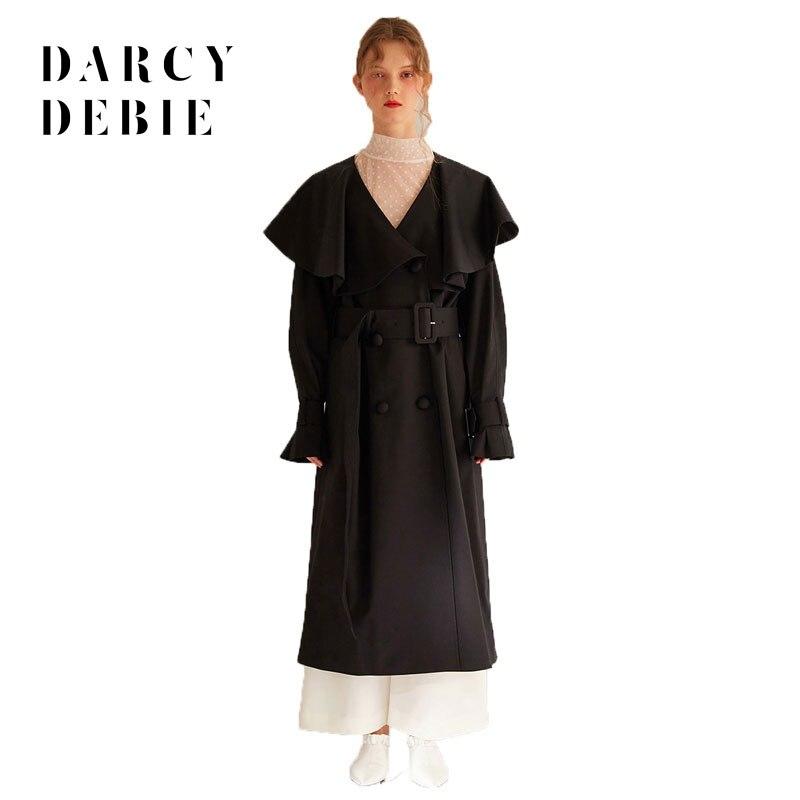V Doppio Black A Scollo autunno Modo Petto Vita Di Ruffles up Delle Lady  Darcydebie Lace Donne Dolce Office Inverno Cappotti Trench PwvRnxnz7 59239158c03