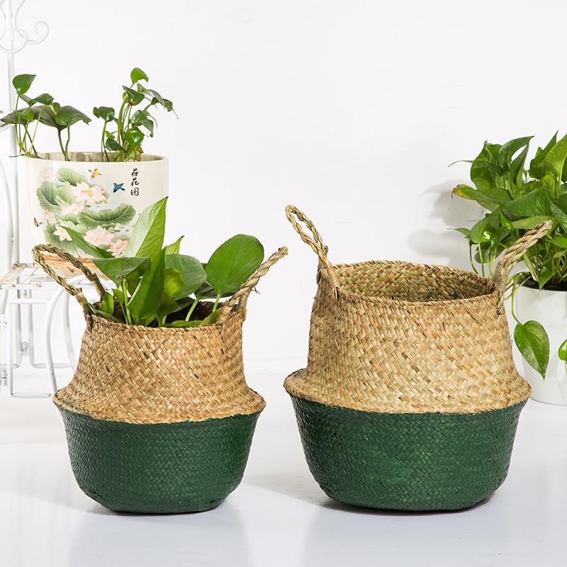 WHISM Folding Laundry Hamper Handmade Storage Basket Seagrass Toys Holder Rattan Wikcer Hanging Basket Home Storage Organization