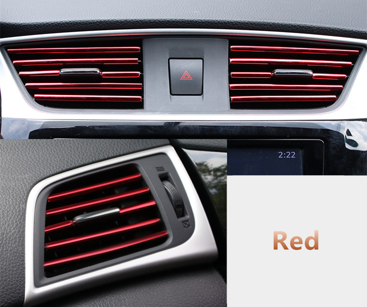 U Shape DIY Interior Air Vent Grille Switch Trim Outlet Decoration Strip Moulding For Renault Megane 2 Scenic Laguna 2 Captur