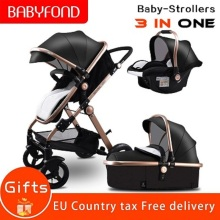 RU free ship! high landscape leather stroller can sit lie  portable baby stroller European luxurious PU trolley with car seat