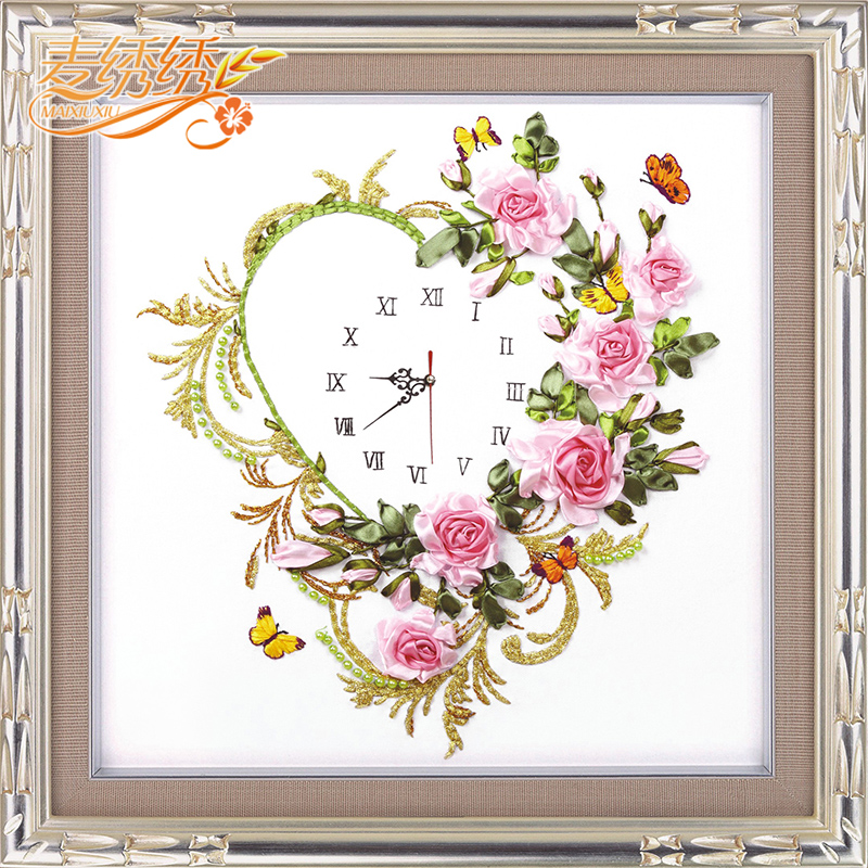 Heart clock watch suite ribbon embroidery for living room flower paintings heart bell cross stitch set Home Decor Needleworks
