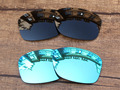 Black & Ice Blue 2 Pairs Polarized Replacement Lenses For Jupiter Squared Sunglasses Frame 100% UVA & UVB Protection
